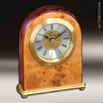 Desk Gift Burl Wood Gold Accented Domed Clock Award Employee Trophy Awards