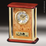 Desk Gift Burl Wood Gold Accented Mantle Clock Award Employee Trophy Awards