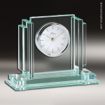 Desk Gift Jade Glass Silver Accented Clock Award Employee Trophy Awards