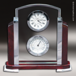 Desk Gift Rosewood Silver Accented Clock and Thermometer Award Employee Trophy Awards