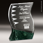Crystal Green Marble Accented Rio Verde Trophy Award Employee Trophy Awards