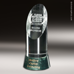 Crystal Green Marble Accented Vinton Trophy Award Employee Trophy Awards