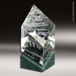 Crystal Green Marble Accented Vicksburg Trophy Award Employee Trophy Awards