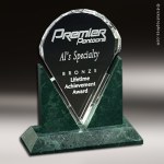 Crystal Green Marble Accented Valdez Trophy Award Employee Trophy Awards
