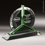 Crystal Green Accented Tribute Trophy Award Employee Trophy Awards