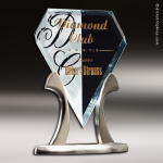 Glass Silver Accented Royal Diamond Tiara Trophy Award Employee Trophy Awards