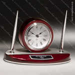 Rosewood Piano Finish Desk Clock and Pen Set with Silver Aluminum Accents Engraved Clock Pen Desk Sets