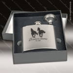 Engraved Flask Stainless Steel With Funnel Boxed Gift Set Silver Brush Engraved Flask Gift Sets