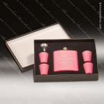 Engraved Flask Stainless Steel Felt Lined 6 Piece Boxed Gift Set Award Pink Engraved Flask Gift Sets