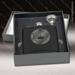 Engraved Flask Stainless Steel With Funnel Boxed Gift Set Black Matte Engraved Flask Gift Sets