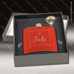 Engraved Flask Stainless Steel With Funnel Boxed Gift Set Red Gloss Engraved Flask Gift Sets