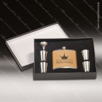 Engraved Flask Stainless Steel Felt Lined 6 Piece Boxed Gift Set Award Leat Engraved Flask Gift Sets