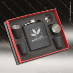 Engraved Flask Stainless Steel 6 Piece Boxed Gift Set Award Black Engraved Flask Gift Sets