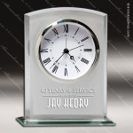 Engraved Silver Finish Jade Accented Glass Desk Clock Arch Award Engraved Jade Finish Desk Clocks
