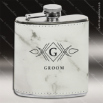 Engraved Leather Flask 6 Oz. Etched Gift Award - White Marble Engraved Leather Wrapped Flasks