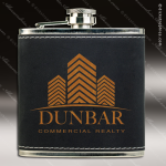 Engraved Leather Flask 6 Oz. Light Black Gold Etched Gift Award Engraved Leather Wrapped Flasks