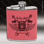 Engraved Leather Flask 6 Oz. Pink Etched Gift Award Engraved Leather Wrapped Flasks