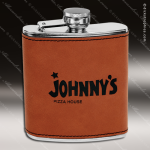Engraved Leather Flask 6 Oz. Rawhide Etched Gift Award Engraved Leather Wrapped Flasks