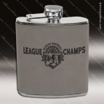 Engraved Leather Flask 6 Oz. Gray Etched Gift Award Engraved Leather Wrapped Flasks