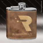 Engraved Leather Flask 6 Oz. Rustic Etched Gift Award Engraved Leather Wrapped Flasks