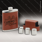 Engraved Leather Flask 7 Oz. Dark Brown Etched Shot Glass Gift Set Award Engraved Leather Wrapped Flasks