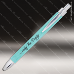 Engraved Leather Wrapped Teal Pen Engraved Leather Wrapped Writing Pens