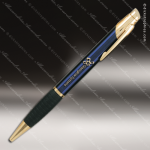 Engraved Metal Blue Ballpoint Pen with Gripper Engraved Metal Writing Pens