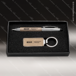 Desk Gift Engraved Taupe Leather Gift Pen and Key Ring Gift Set Engraved Misc Gift Boxes