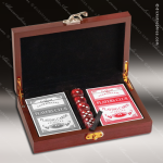 Rosewood Finish Card and Dice Set Engraved Misc Gift Boxes