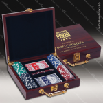 Rosewood Piano Finish Poker Set Engraved Misc Gift Boxes