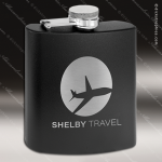 Engraved Stainless Steel Flask 6 Oz. Powder Coated - Black Engraved Stainless Flasks