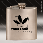 Engraved Stainless Steel Flask 6 Oz. Brush Silver Gift Award Engraved Stainless Flasks