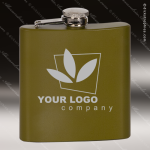 Engraved Stainless Steel Flask 6 Oz. Army Green Matte Gift Award Engraved Stainless Flasks