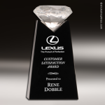 Crystal Black Accented Diamond Tower Trophy Award Executive Crystal Awards