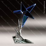 Crystal Blue Accented Star Nebula Trophy Award Executive Crystal Awards