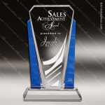 Crystal Blue Accented Bethesda Wedge Trophy Award Executive Crystal Awards