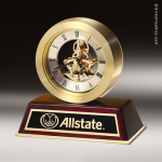 Desk Gift Rosewood Gold Accented Skeleton Clock Award Executive Trophy Awards