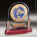 Desk Gift Rosewood Gold Accented International Globe Clock Award Executive Trophy Awards