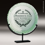 Artistic Jade Green De Soto Plate Trophy Award Executive Trophy Awards