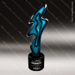Variable Flash Artistic Blue Teal Art Glass Trophy Award Exquisite Artistic Trophy Awards