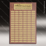 The Johnston Laminated Walnut Perpetual Plaque 102 Gold Plates Extra Large Perpetual Plaques - 100+ Plates