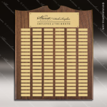 The Trenholm Walnut Arched Perpetual Plaque 120 Gold Plates Extra Large Perpetual Plaques - 100+ Plates