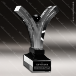 Crystal Black Accented Celebration Hands Fan Trophy Award Fan Shaped Crystal Awards
