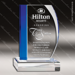 Crystal Blue Accented Cherished Sapphire Fan Trophy Award Fan Shaped Crystal Awards