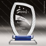 Crystal Blue Accented Everest Fan Etched Edge Trophy Award Fan Shaped Crystal Awards