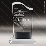 Crystal Black Accented Wave Fan Trophy Award Fan Shaped Crystal Awards