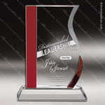 Crystal Red Accented Wave Fan Sail Trophy Award Fan Shaped Crystal Awards