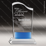 Crystal Blue Accented Wave Fan Trophy Award Fan Shaped Crystal Awards