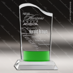 Crystal Green Accented Wave Fan Trophy Award Fan Shaped Crystal Awards