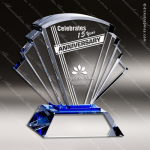 Crystal Blue Accented Fan Prosperity Trophy Award Fan Shaped Crystal Awards